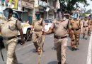 कोविड कफ्र्यू का सख्ती से पालन कराने को पुलिस ने निकाला फ्लैग मार्च