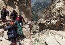 जोशीमठ-मलारी हाईवे पर टूटी चट्टान