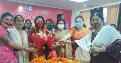 भाजपा महिला मोर्चा की नवनियुक्त राष्ट्रीय महामंत्री दीप्ति रावत का किया स्वागत